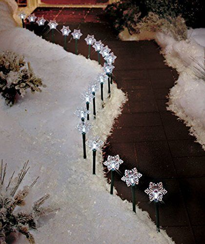 Solar Lighted Snowflake Stake Pathway Lights