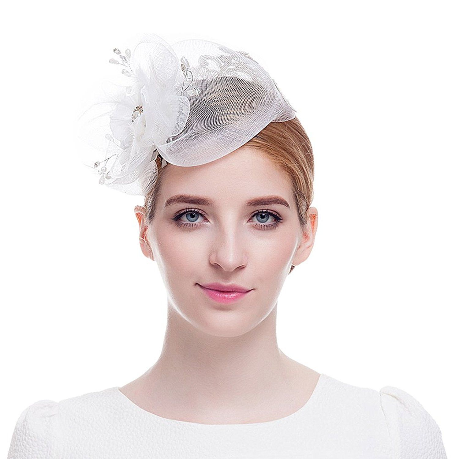 Valdler White Fascinator Hat Wedding Hair Piece Cocktail Kentucky Derby Hat  -- This is an Amazon Affiliate link. Continue to the product at the image  link. 768566cd2e5