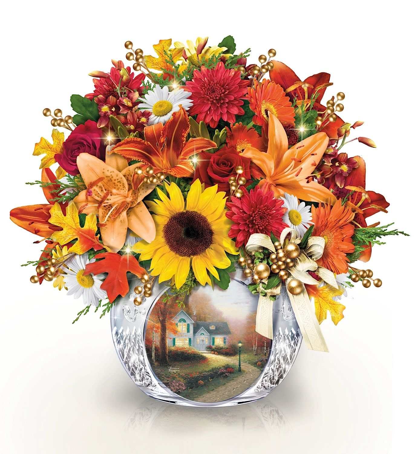 """Enjoy brilliant fall colors with this faux floral arrangement from the Bradford Exchange featuring Thom's """"Blessings of Autumn"""" on the crystal vase."""