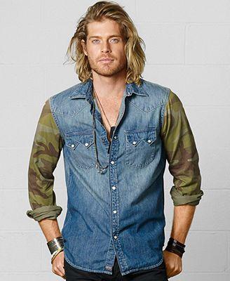 9145cc35c70e0 Denim & Supply Ralph Lauren Camo-Sleeve Western Shirt | Men's ...