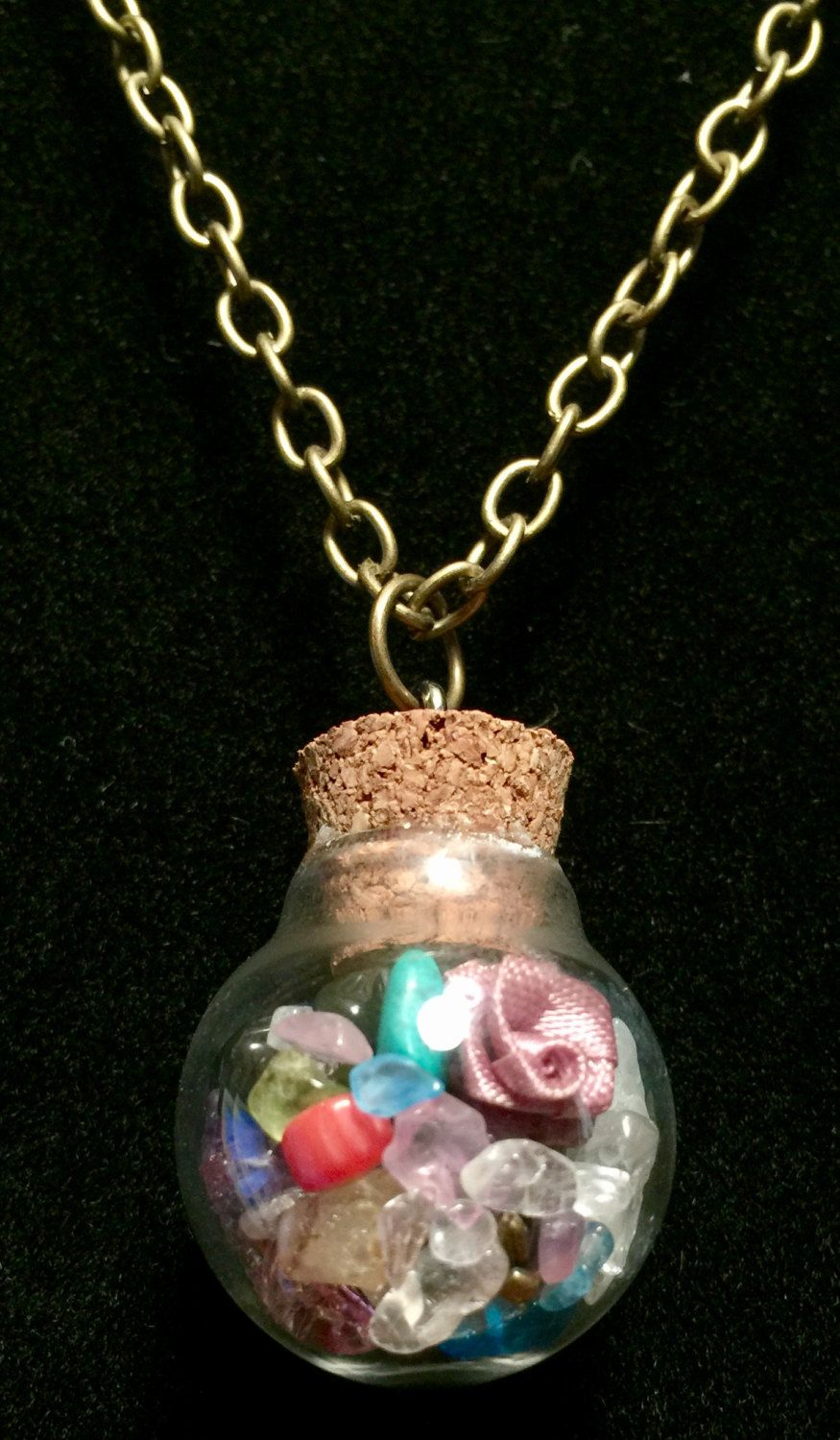 Gem filled round glass bottle necklace by WendysSpace on Etsy
