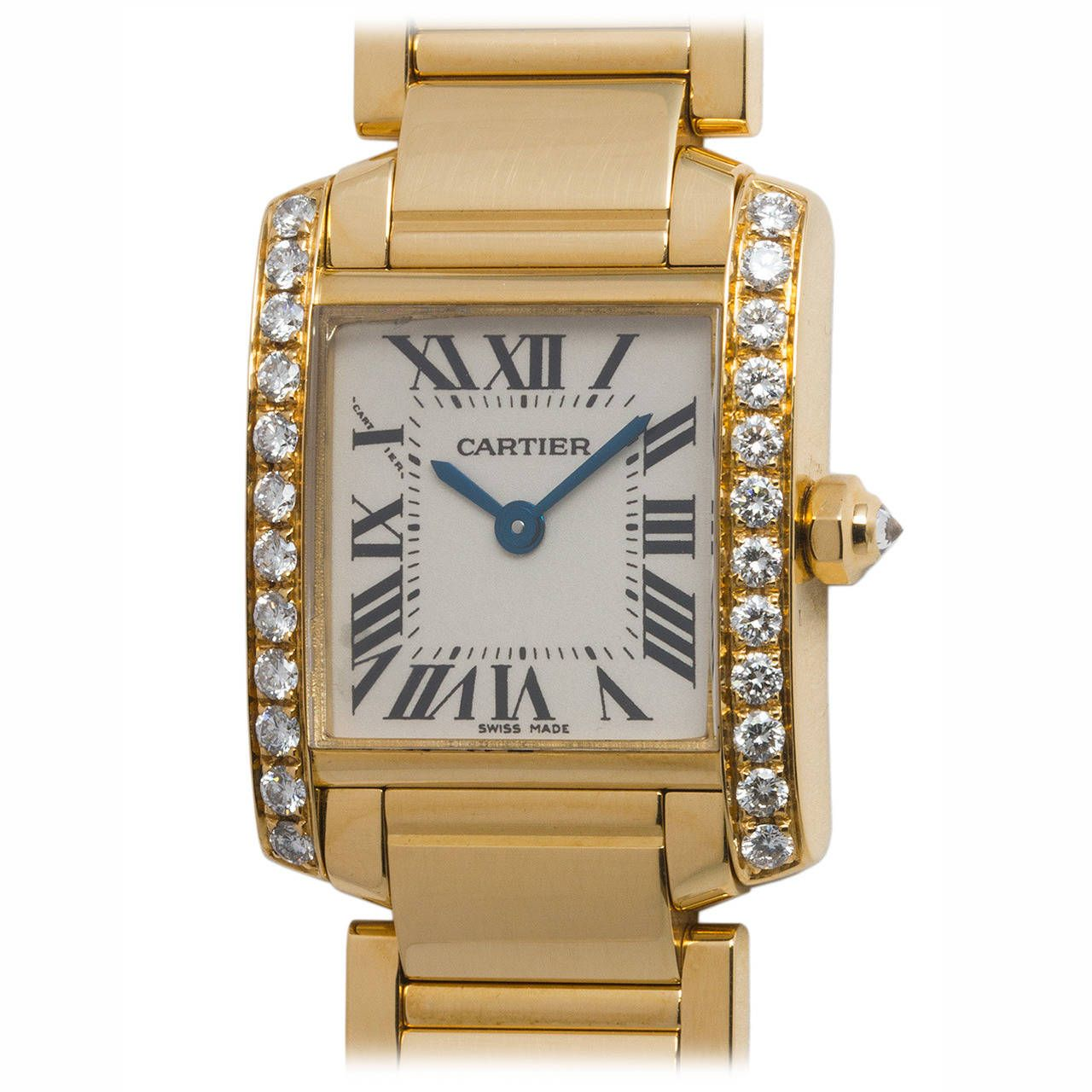 Cartier ladyus yellow gold and diamond tank francaise wristwatch