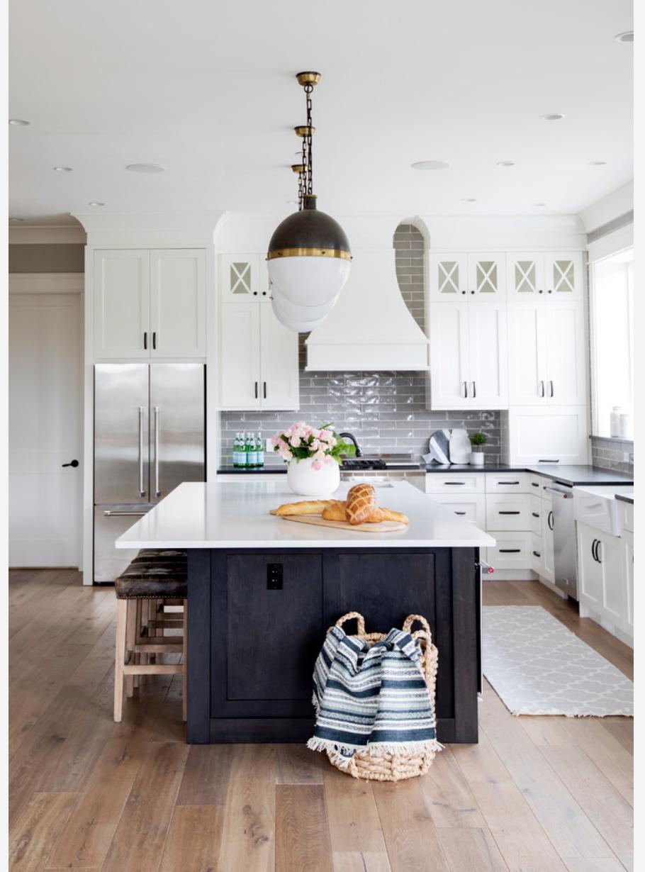 Kitchen Layout Idea Details Continued Garage Door View Black Kitchen Island White Kitchen Sleek Kitchen