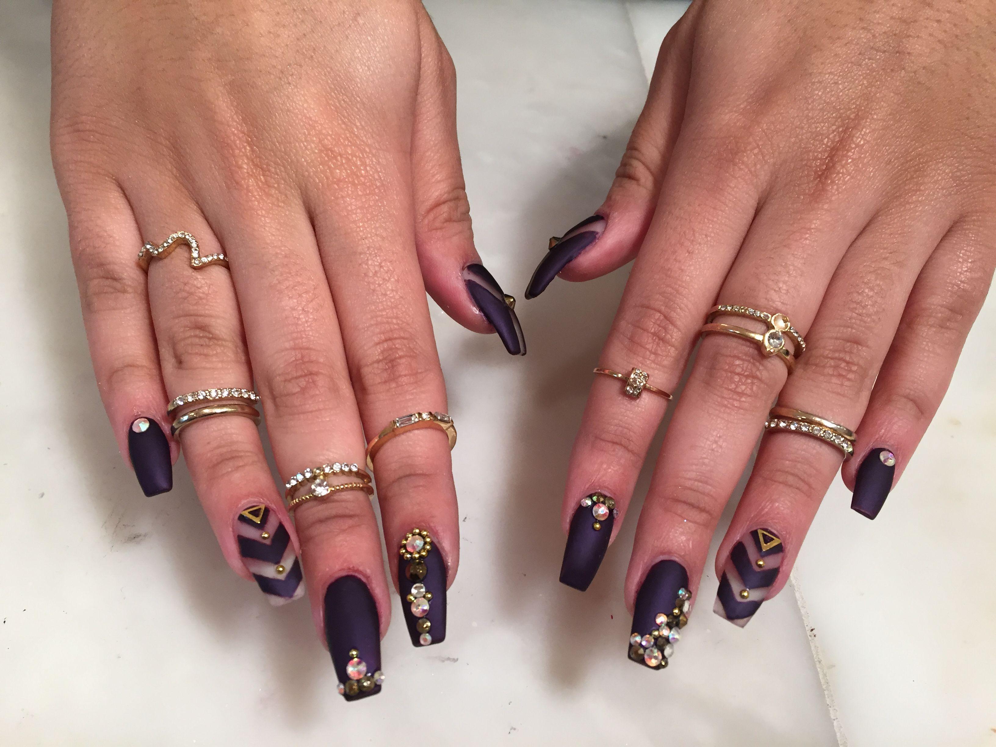 Coffin nails purple matte stone rhinestone bling negative space ...