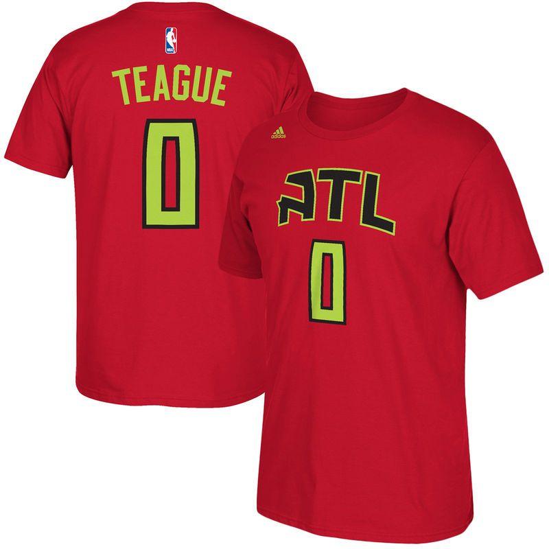 Jeff Teague Atlanta Hawks adidas Net Number T-Shirt - Red