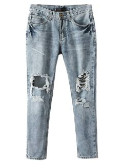 Shop Light Blue Ripped Bleached Skinny Jeans from choies.com .Free shipping Worldwide.$41.99