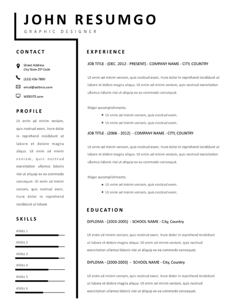 smeme  u2013 simple two-column resume template