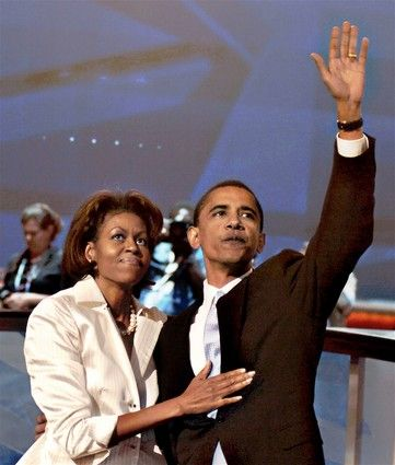 Michelle and Barack Obamaenjoy the moment on the night that put him in the national spotlight. Obama had just given the keynote address at the Democratic National Convention in Boston.