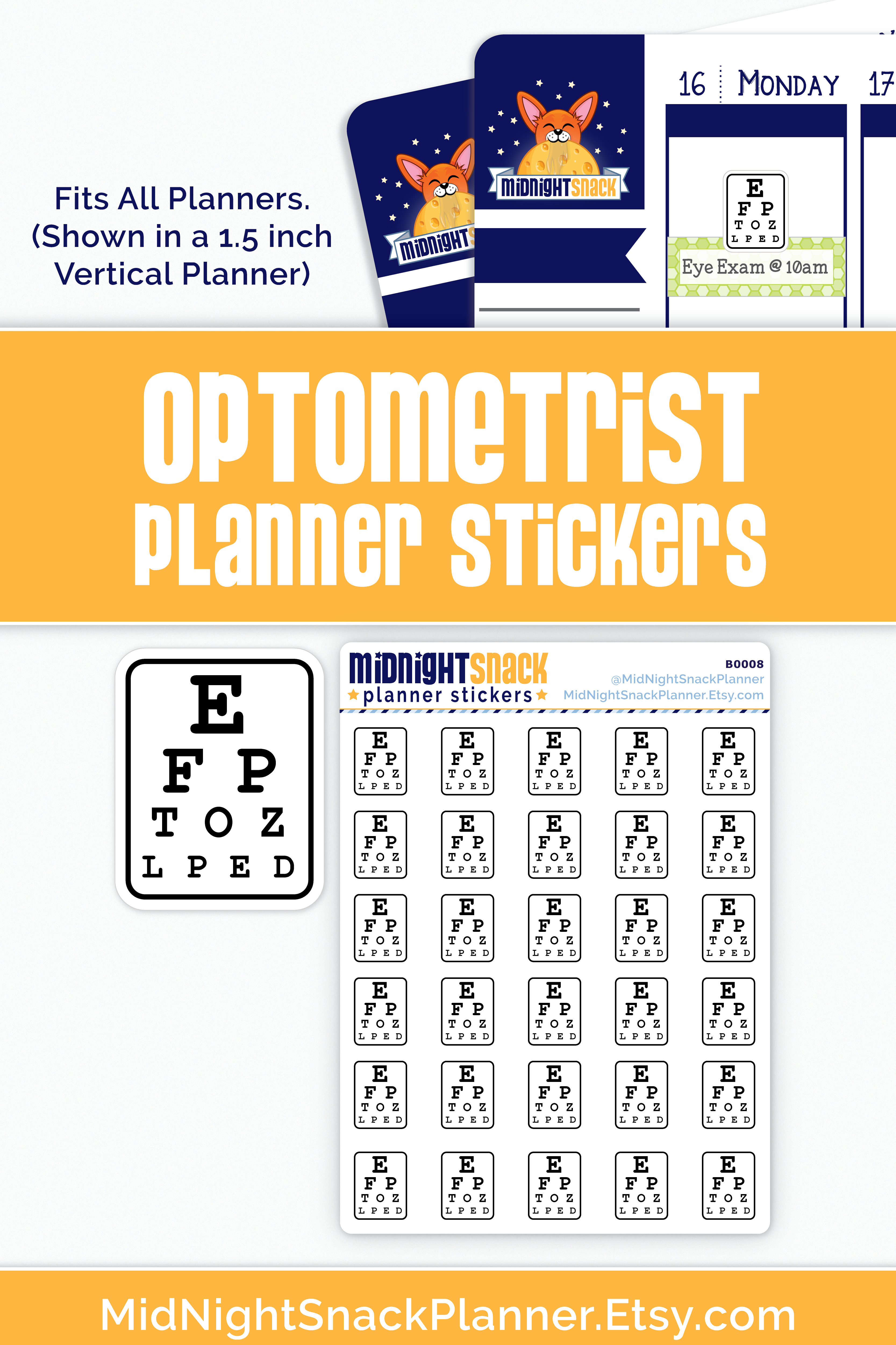 Optometrist Reminder Planner Stickers Eye Chart Icon Stickers Planner Stickers Planner Girl Stickers Free Printable Planner Stickers