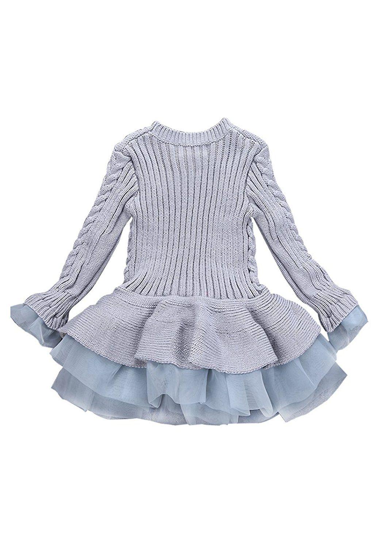 Omzin girls winter long sleeve knitting pullover sweater dresses