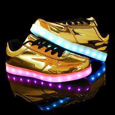 newest 6fba6 c7532 Moda Unisex LED Luz de cuero PU Zapatos Deportivos Tenis Casuales Luminoso  Bailando