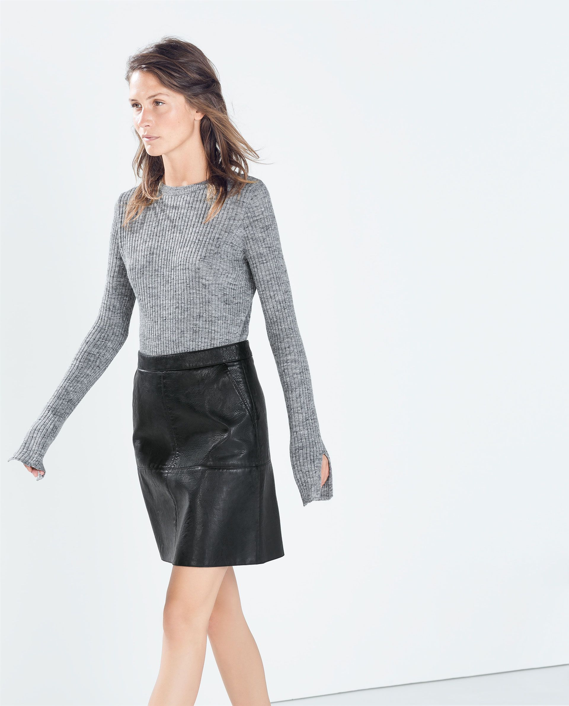 abadf830fc Image 3 of A-LINE FAUX LEATHER SKIRT from Zara | wanted | Black ...
