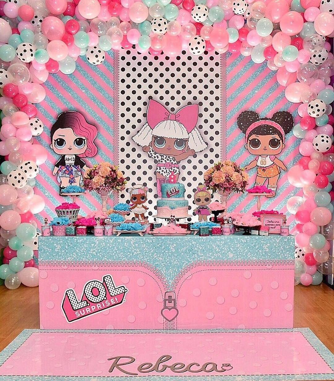 Mesa de postres para fiesta nina tema munecas lol 5 cumplea os mu ecas lol doll party lol Fiesta sorpresa de cumpleanos para nina