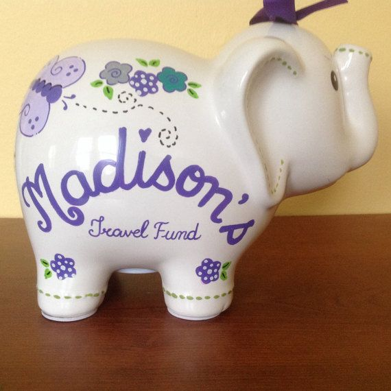 Personalized elephant piggy bank flowers butterfly lavender personalized elephant piggy bank flowers butterfly lavender purple newborns birthdaygirls negle Images