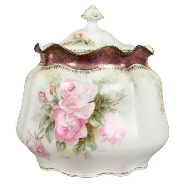 1051: Fine porcelain cracker barrel, R S Prussia red ma - Apr 07, 2006   Flomaton Antique Auction in AL