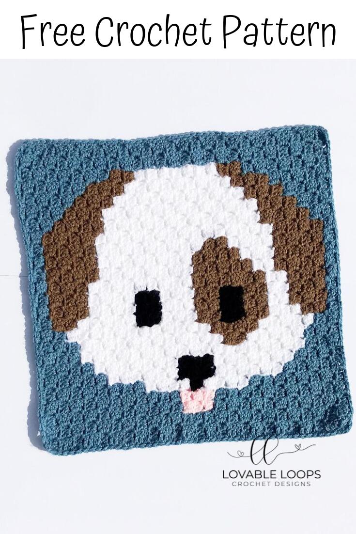 Crochet Dog Emoji c2c Pattern