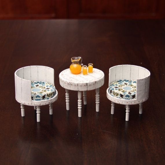 Doll House Miniature - White Antiqued Table and Chair Set - 12-02-003
