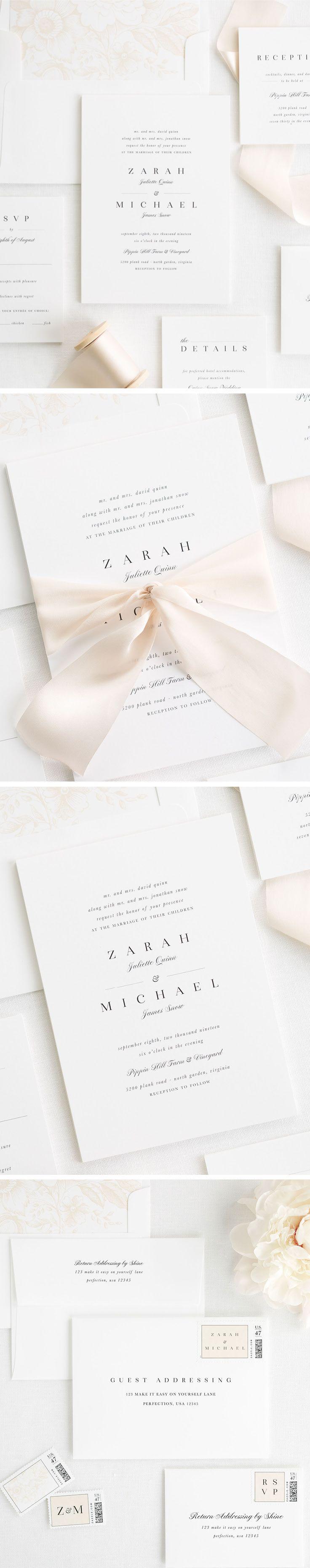 Zarah Ribbon Wedding Invitations | Unique wedding invitation ...