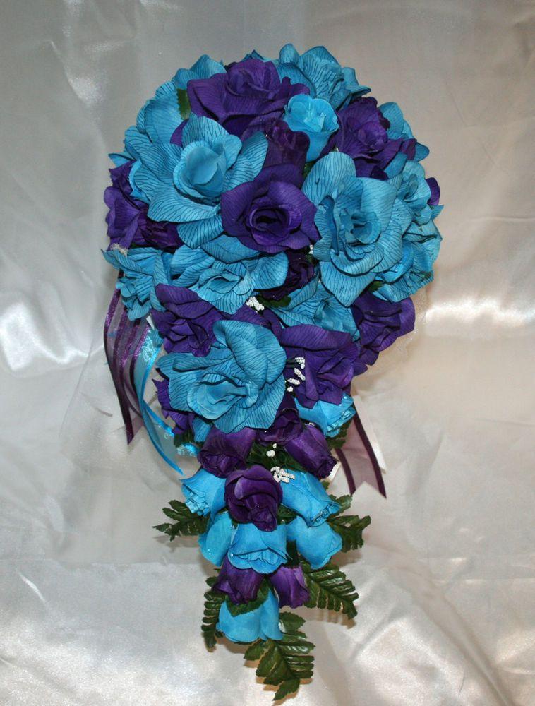 Malibu silk wedding bridal bouquet cascade package purple turquoise 21pc wedding bridal bouquet purple turquoise silk flowers bridemaids mightylinksfo