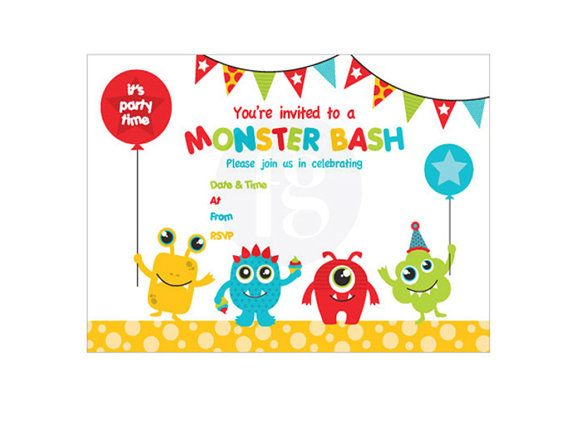 Six Monster Party Invitations