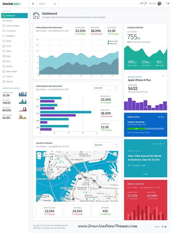 Bracket Plus Responsive Bootstrap Admin Dashboard Template Web - Board dashboard template