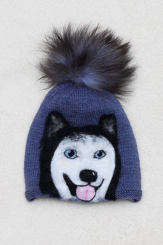 Gray Husky Men Hat Thin Warm Beanie Adult Dog Hat Husky Beanie Boy Pom Pom Beanie  Husky Hat Animal D efc76685aaf