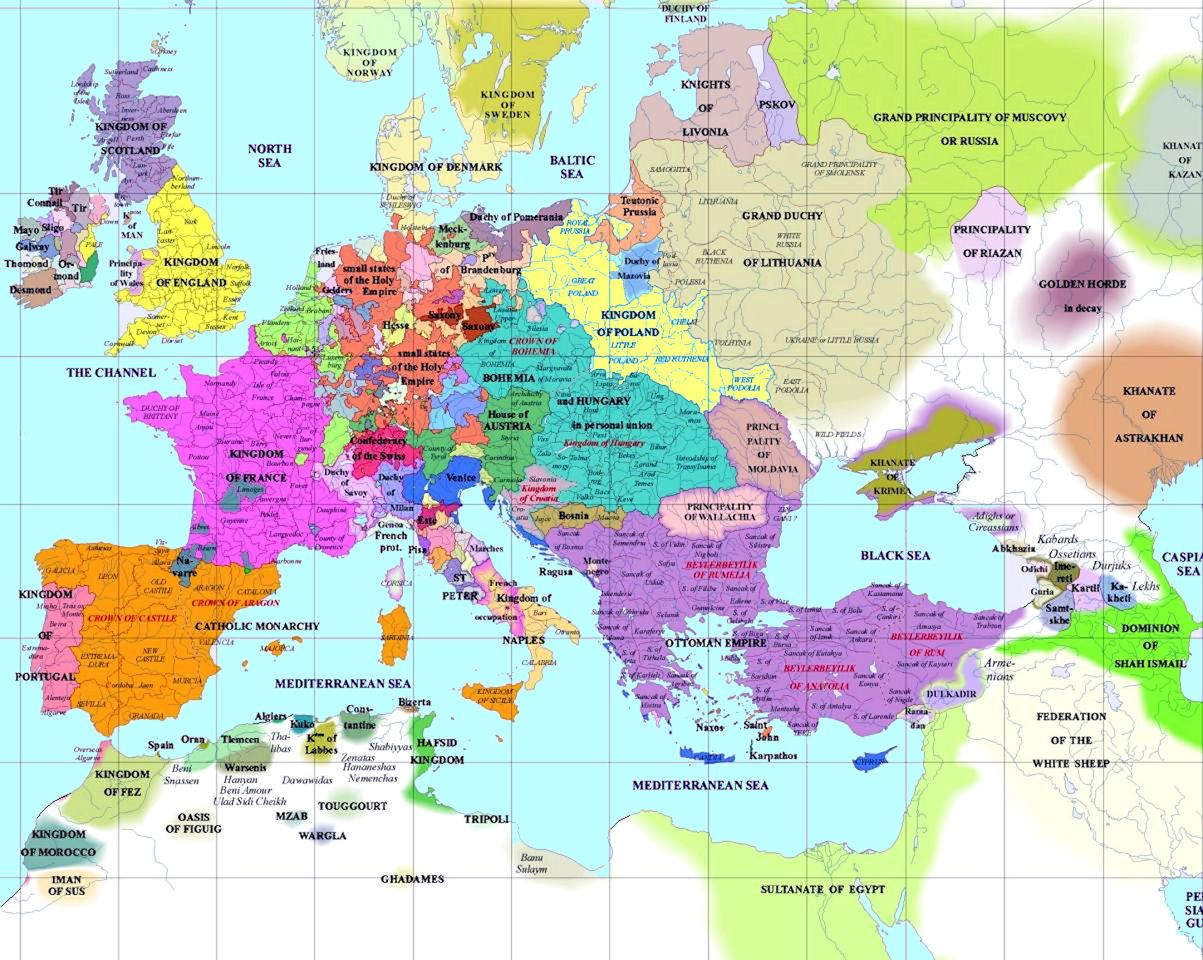 European History Map 1500 Ad Europe Map Political Map