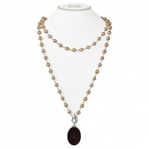 Sterling Silver 7-8MM Mocha Ringed Freshwater Cultured Pearl with Chocolate Agate Druzy 48 Necklace from Bremer Jewelry.