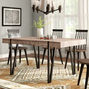 Foundstone Cordelia Solid Wood Dining Table Wayfair Dining Table In Kitchen Wood Dining Table Dining Room Industrial