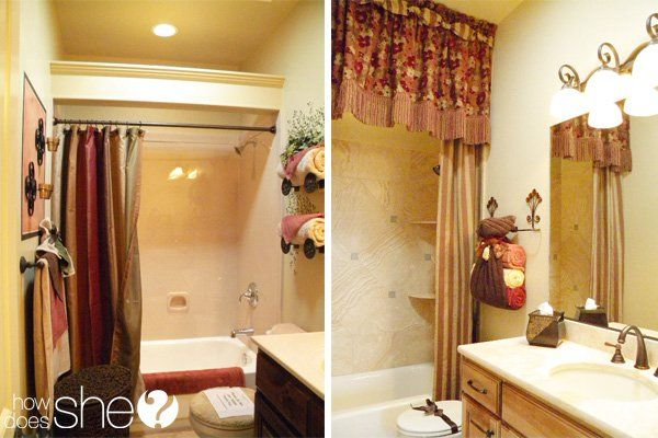 trim piece with hidden curtain rod to conceal the shower curtain ...