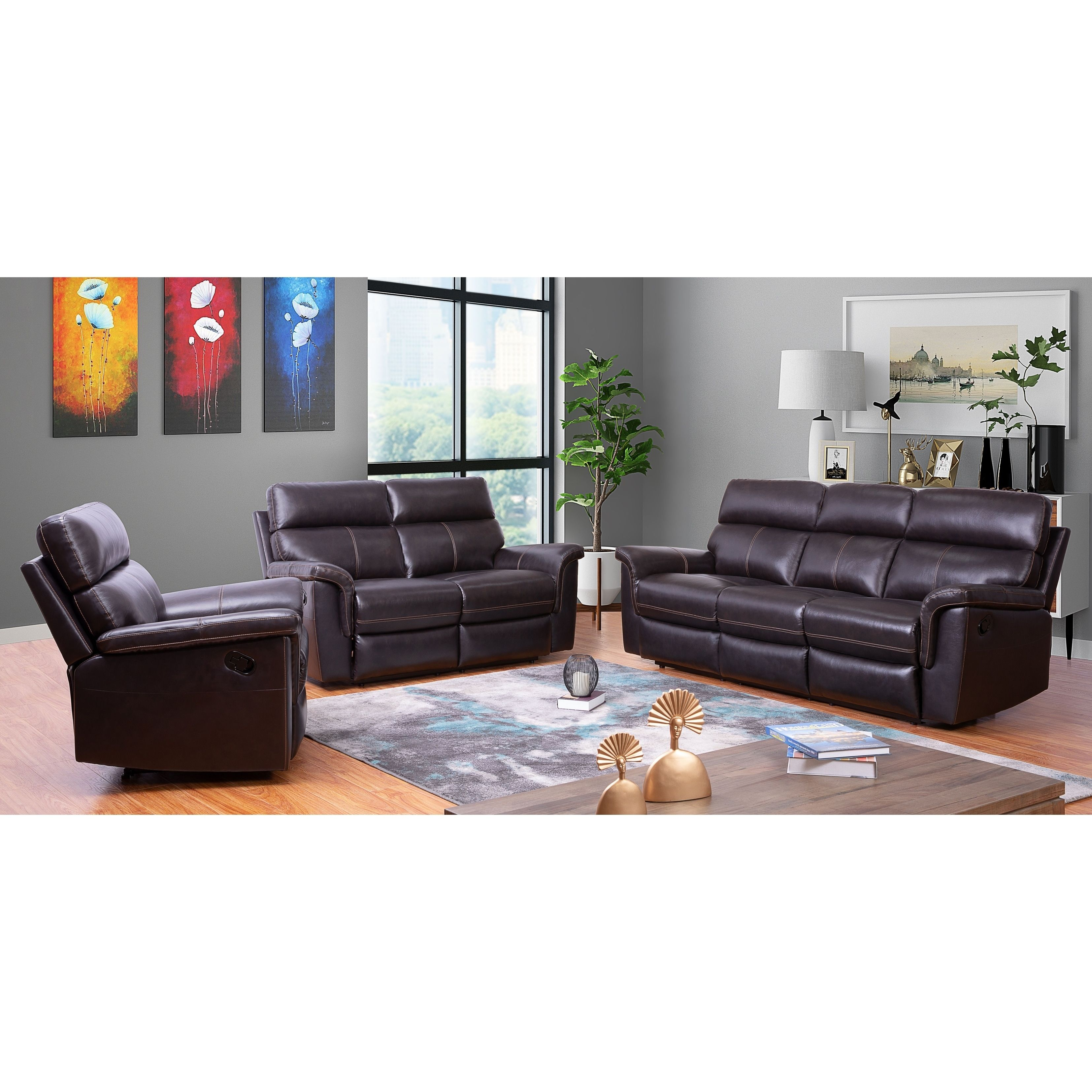 Miraculous Abbyson Wellington Top Grainleather Brown Recliner Sofa Set Machost Co Dining Chair Design Ideas Machostcouk