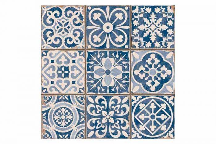 Tangier Blue Decor Tile 33x33cm | Kitchen wall tiles, Blue ...