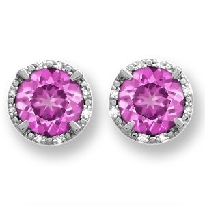 Jared LabCreated Pink Sapphire Diamond Earrings Sterling Silver