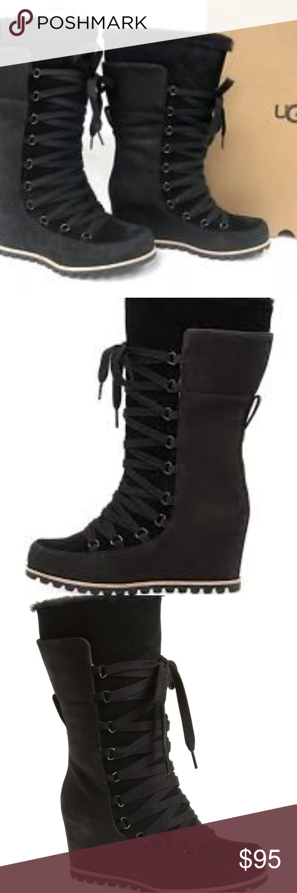 ef2566e4170 UGG Wedge lace up boots Size 6 NWT
