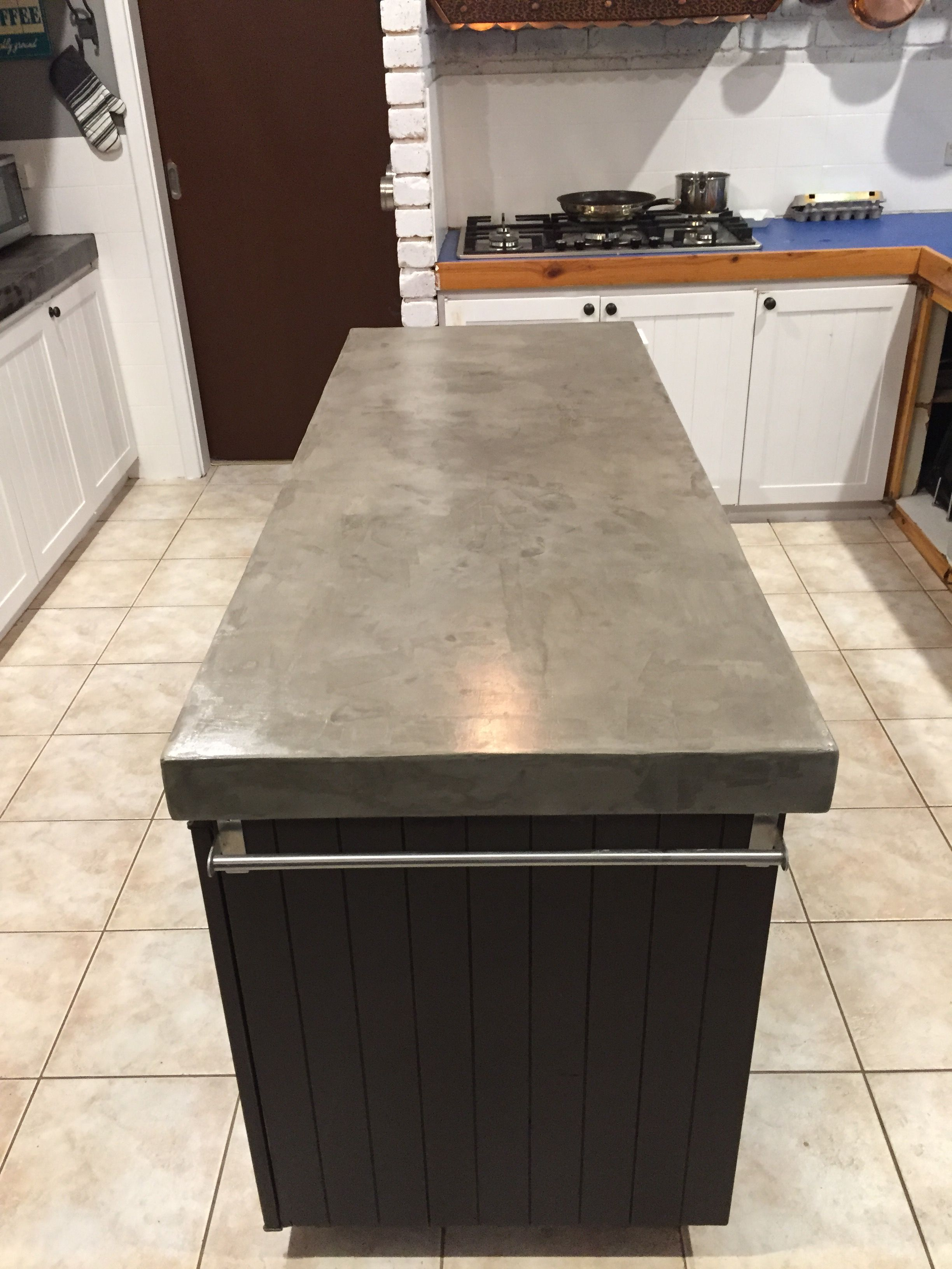 Finished Concrete Countertops Island Ardex Feather Finish 4 Coats Done Kitchen
