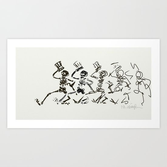 Sketch of Dancing Skeletons by artist Matt Pecson for Society6, prints starting at $18.