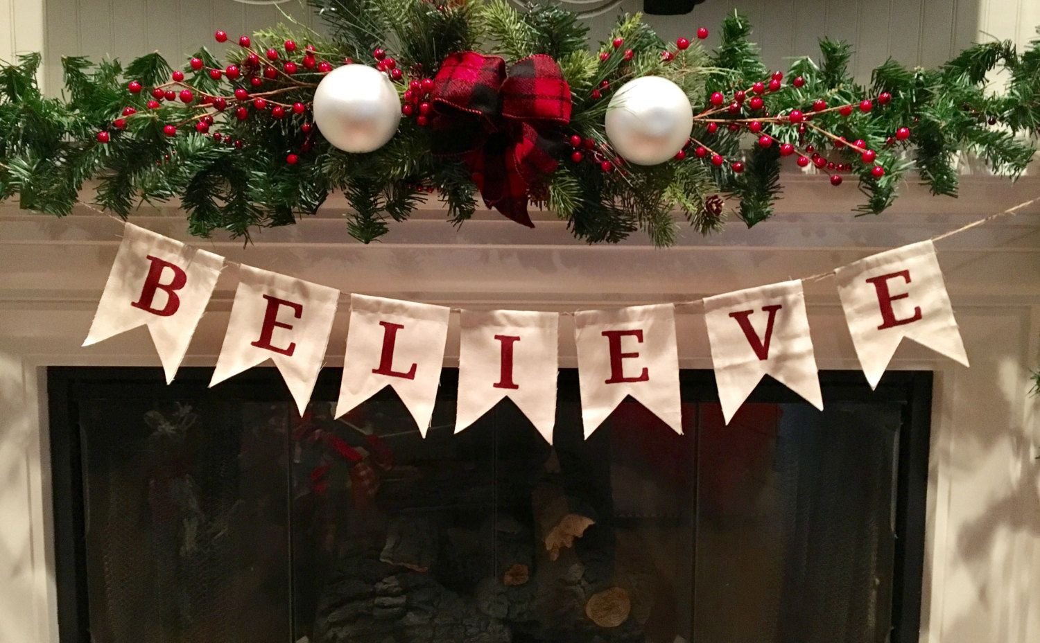 Believe Canvas Flag Banner Christmas Banner Holiday Banner