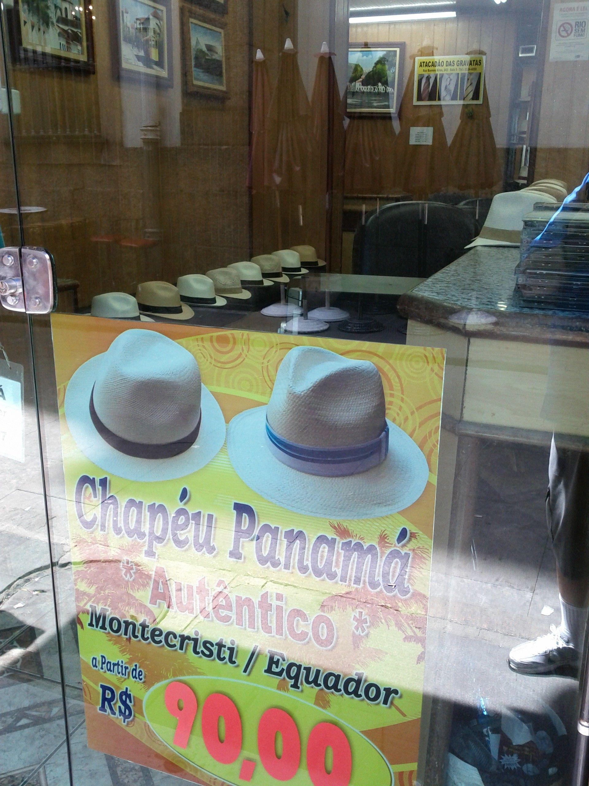 Loja de chapéus panamá no centro do Rio