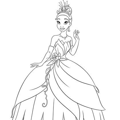 Coloriage la robe de tiana coloriage disney pinterest - Princesse disney a colorier ...