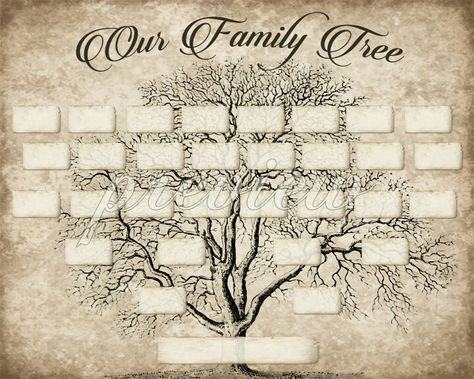Diy Printable Family Tree Pdf Template 8x10 Type In Your Names