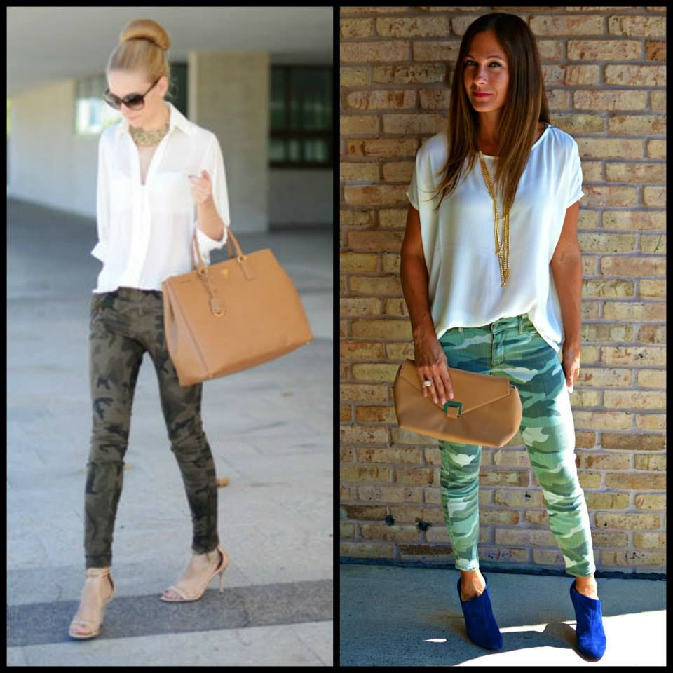 Not sure what to wear with camo? You can always start with a basic off white top and do a pop of color with your shoes!