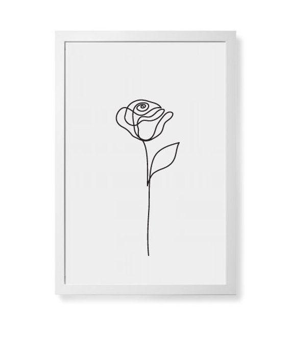 Abstract Rose flower wall art, Beauty Rose one line drawing, Minimalist art, Botanical print, Plants -   13 minimalist planting Art ideas