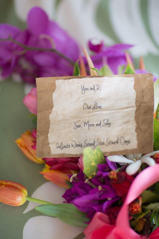 Hawaiian wedding, Heather and Donovan, www.romancingthestonestyling.com.