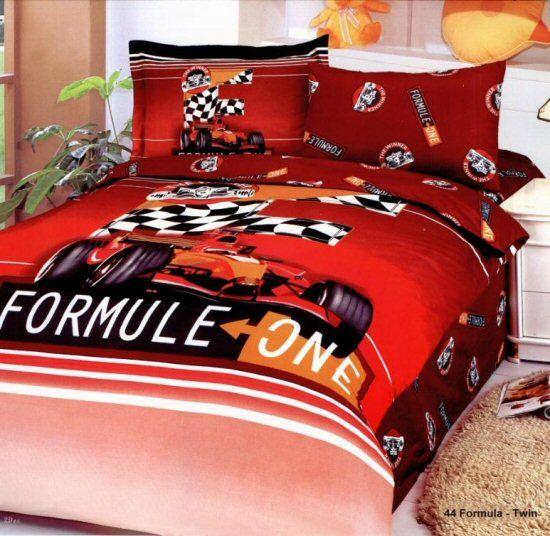 Red Formula 1 Race Car Boys Bedding Twin Duvet Covers Set F1 Kidsroom