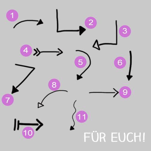 Pinselpalette mit elf handgezeichnete Pfeilen zum kostenlosen Runterladen!  www.blogliebe.de