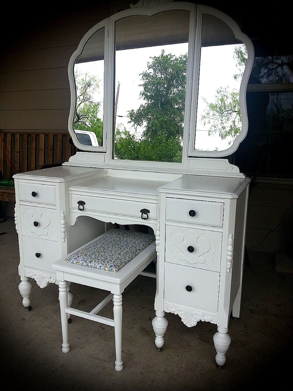 Sold vintage vanity dressing table and mirror painted furniture by