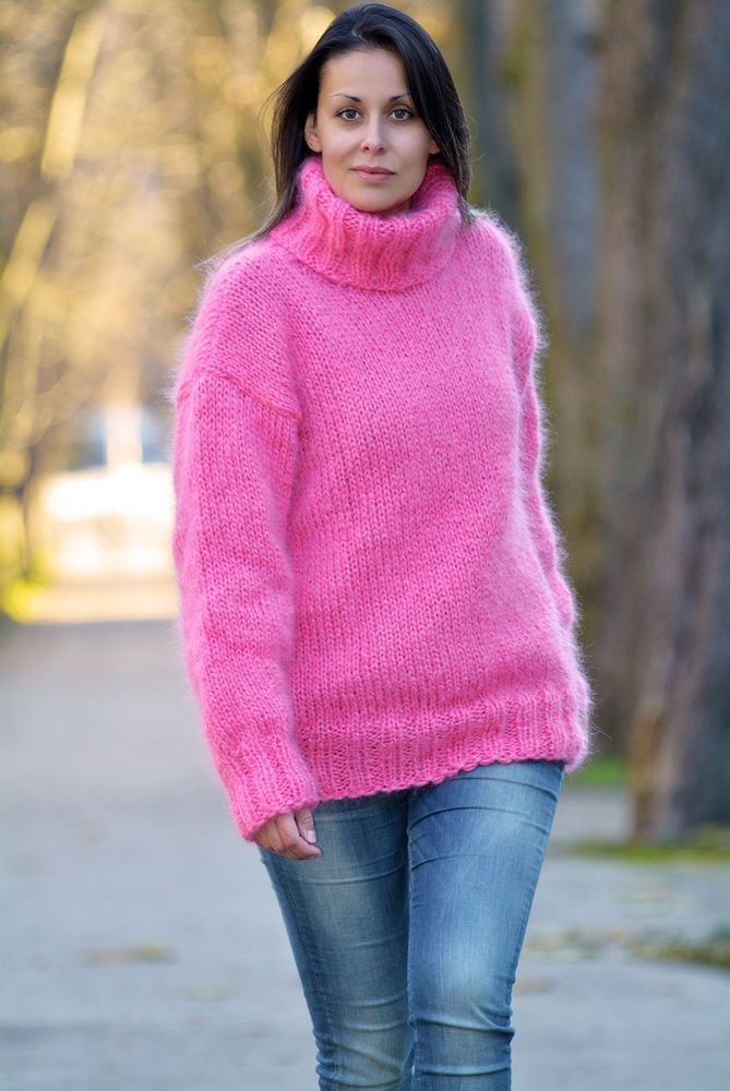 e178b8cb7f4b5f EXTRAVAGANTZA ❤ Hand Knitted Turtleneck Mohair Sweater Dark Pink Pullover # EXTRAVAGANTZA #TurtleneckMock