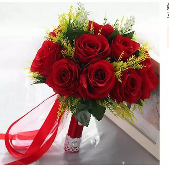 2018 Branco Rosa Vermelha Buque De Casamento Artesanal Flor Rosa