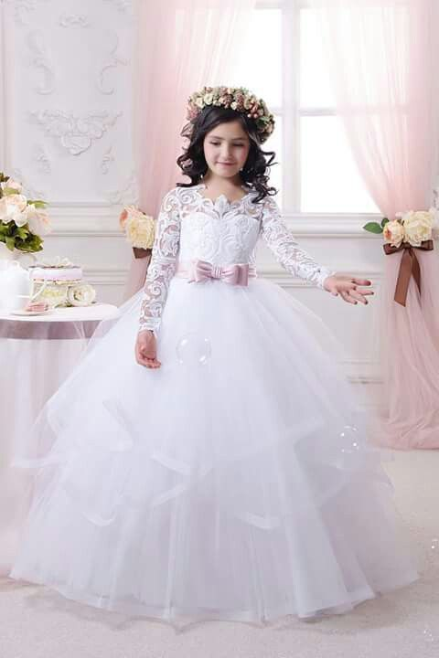 Full Long Lace Sleeve Holy Communion Dresses 2017 New Arrival Beauty Flower  Girls Dresses For Kids Prom Gowns With Bow Custom   AliExpress Affiliate s  Pin. 7bbb9b5bf9c6