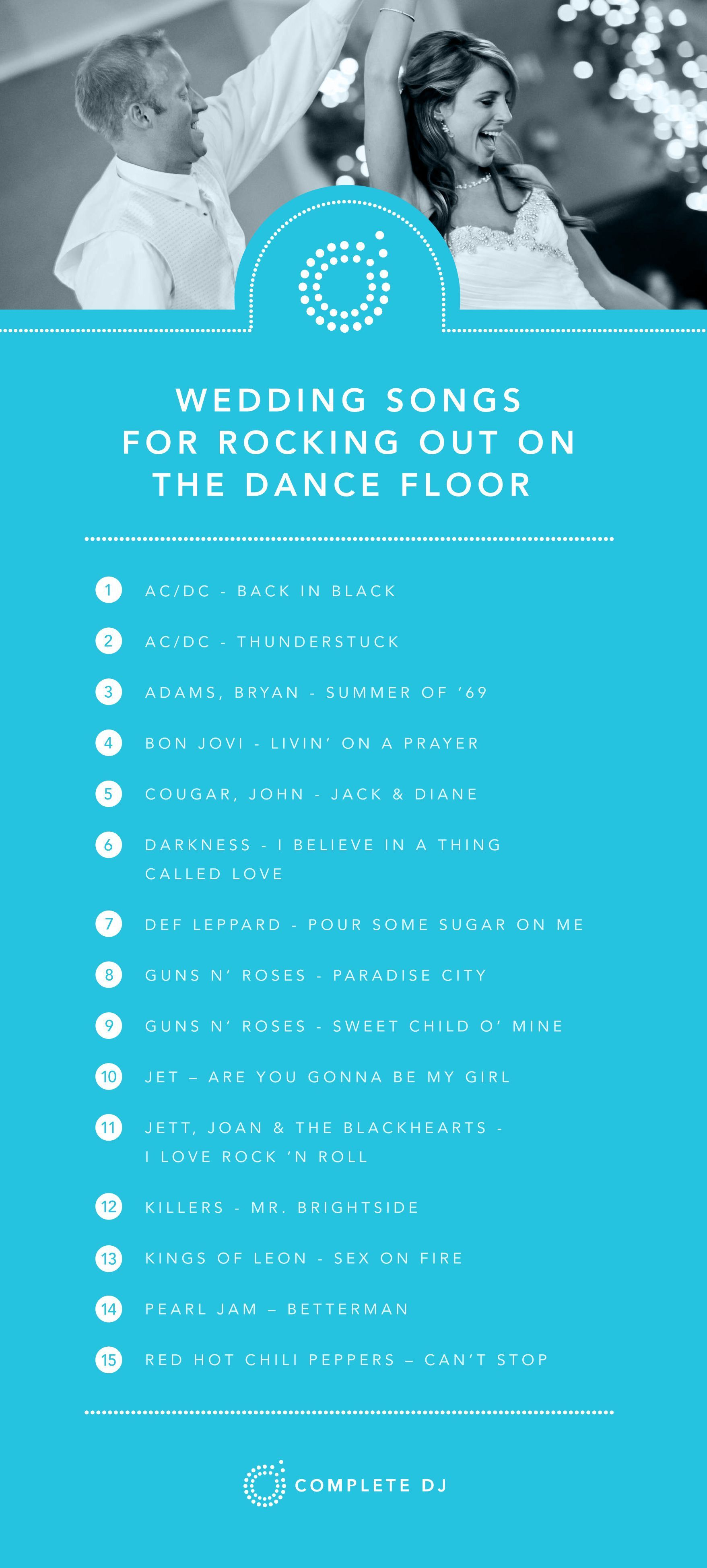 These Songs Are Great On The Dance Floor If Your Crowd Loves To Sing Along And Rock Out What S Some Of In 2020 Best Wedding Songs Wedding Songs Wedding Music Playlist